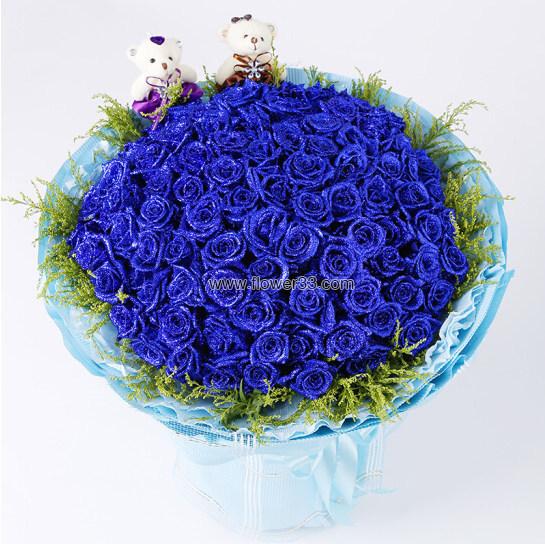 与您相伴 - 九十九朵蓝色妖姬鲜花