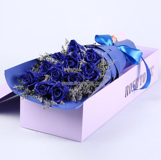 情深意长 - 11枝蓝色妖姬礼盒装