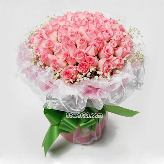 风花雪月 - 66朵粉玫瑰鲜花礼品