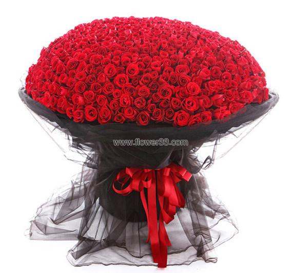 黑纱美人 - 999朵玫瑰花鲜花速递