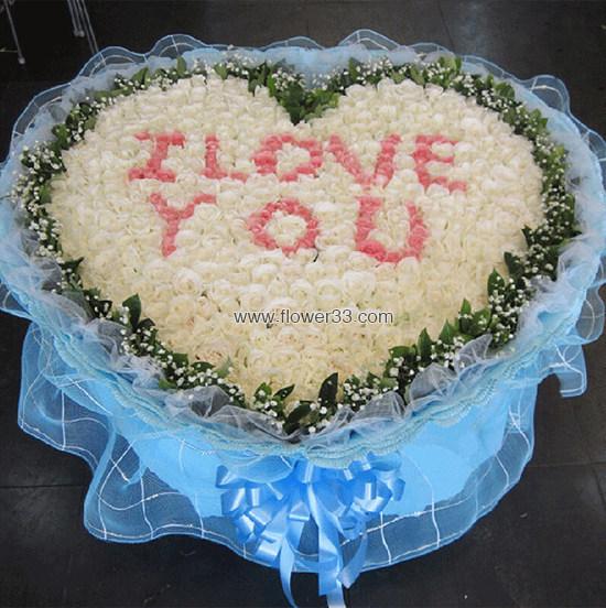 你是我的唯一 - 999朵白色玫瑰大型花束