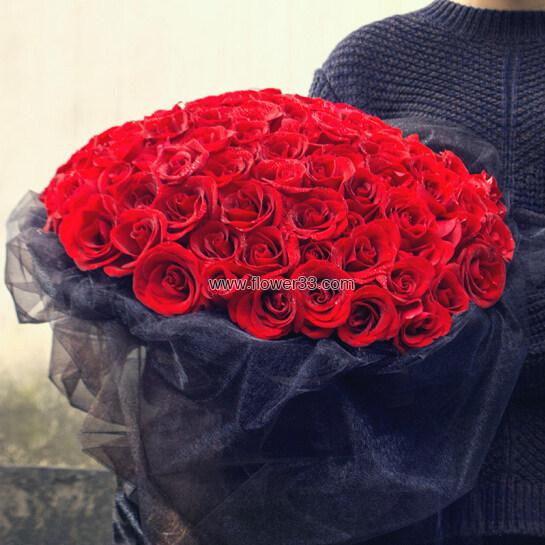 红色热恋 - 99朵玫瑰花鲜花礼品