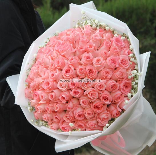 你是我的天使 - 99朵粉玫瑰花束