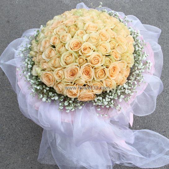 世界因你而美丽 - 九十九朵香槟玫瑰鲜花