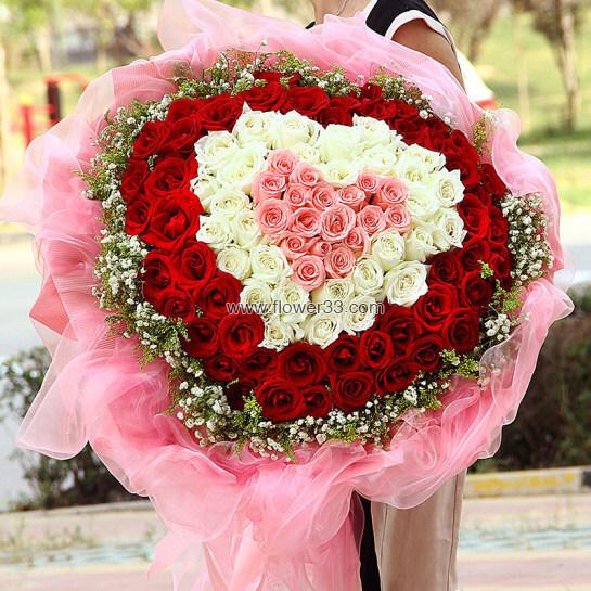 拥抱你 - 99朵多色心形玫瑰鲜花
