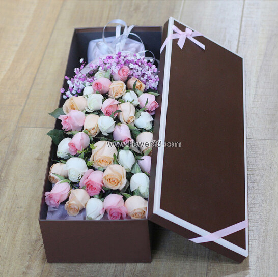 心中最美 - 玫瑰礼盒/盒装多色玫瑰花