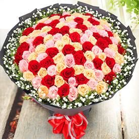 第一次表白送什么花-混合玫瑰花束