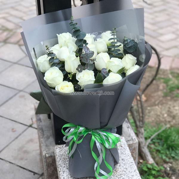 人海中的缘分 - 白玫瑰鲜花预订