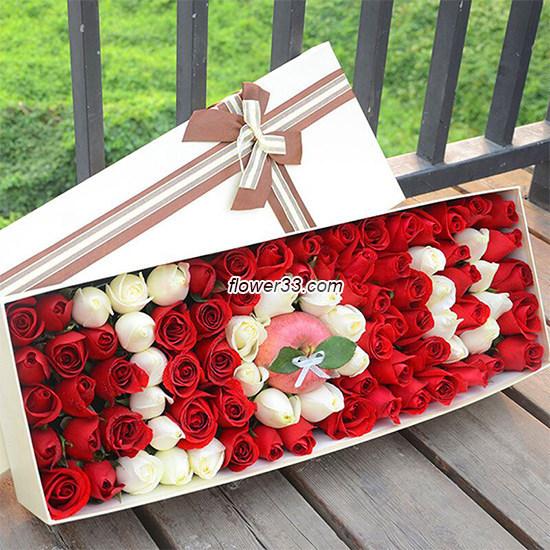 爱你的心永不变 - 99朵玫瑰花礼盒