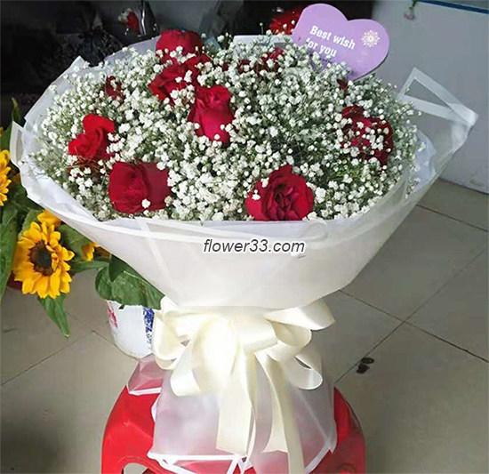 简单的快乐 - 满天星玫瑰花束